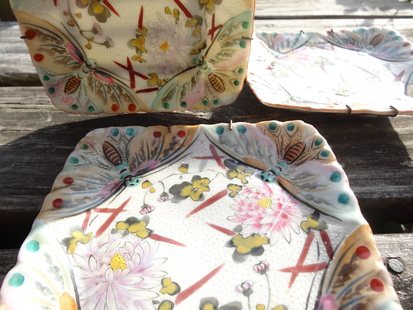 ironstone vintage plates with bugs