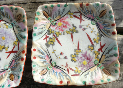 floral and bug plates